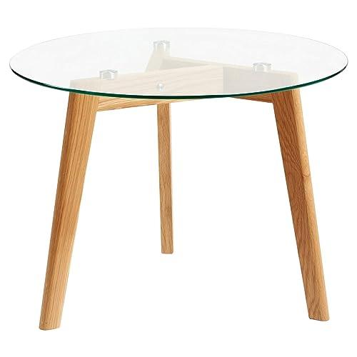 Hartleys Solid Oak Tripod Base Round Glass Coffee Table