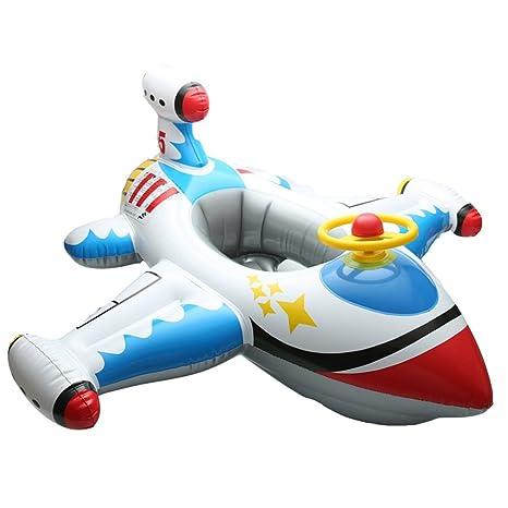 Avión Blanco Hinchable con volante bebé accesorios de natación Anillo de piscina niños Laps asiento de