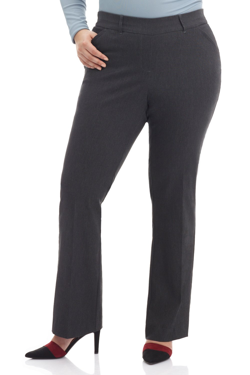 REKUCCI Curvy Woman Ease In To Comfort Fit Barely Bootcut Plus Size Pant (20WSHORT,Dk Charcoal)