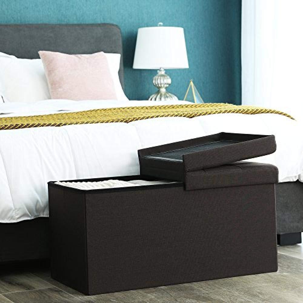Faltbare Schuhbank mit Klappdeckel f/ür Aufbewahrungsmatten bis 300 kg 76 x 38 x 38 cm grau braun