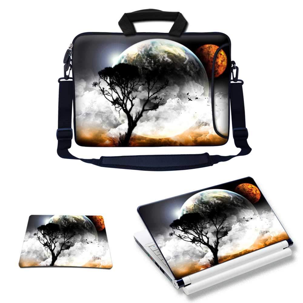 Meffort Inc Laptop Bundle Deal - Includes Neoprene Laptop Bag with Side Pocket Adjust Shoulder Strap with Matching Skin Sticker Decal & Mouse Pad (15.6 Inch, Planet View)