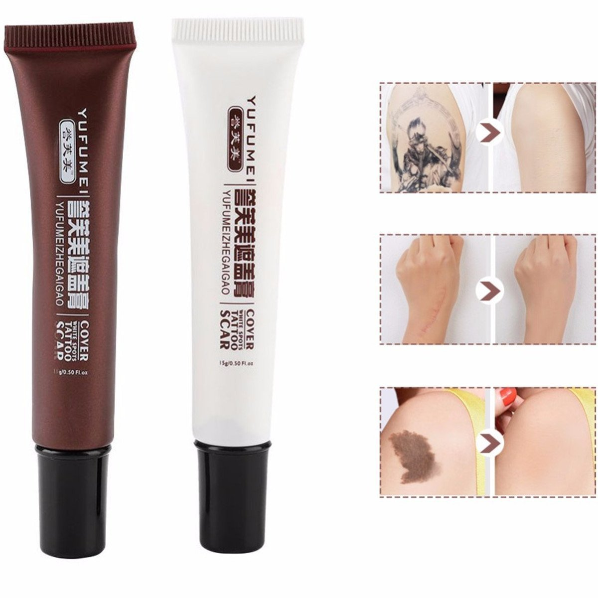 Amareu Tattoo Concealer - Hiding Spots Birthmarks Makeup Cover Up Cream Set Waterproof Cover All Ance Scar and Tattoo