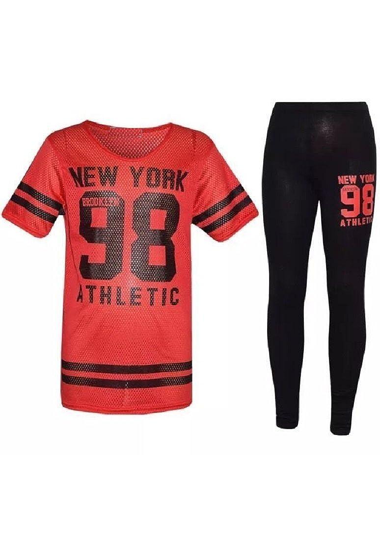 ZET New Girls New York 98 Net Tracksuit Baseball Top & Leggings Age 7-13 Years