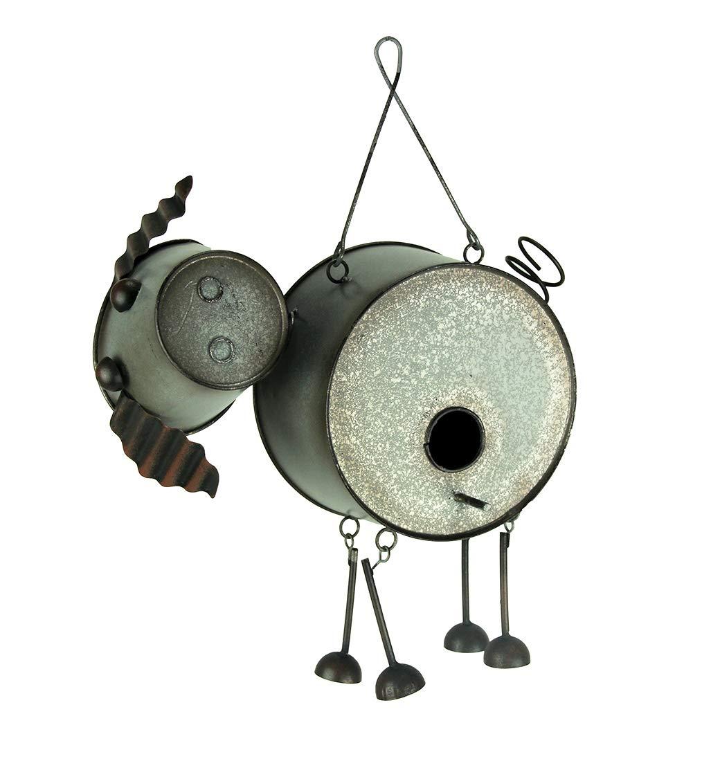 Direct International Metal Bird Houses Adorabile Farmhouse Style Metal Pig Birdhouse 28,6 x 25,4 x 10,2 cm Grigio