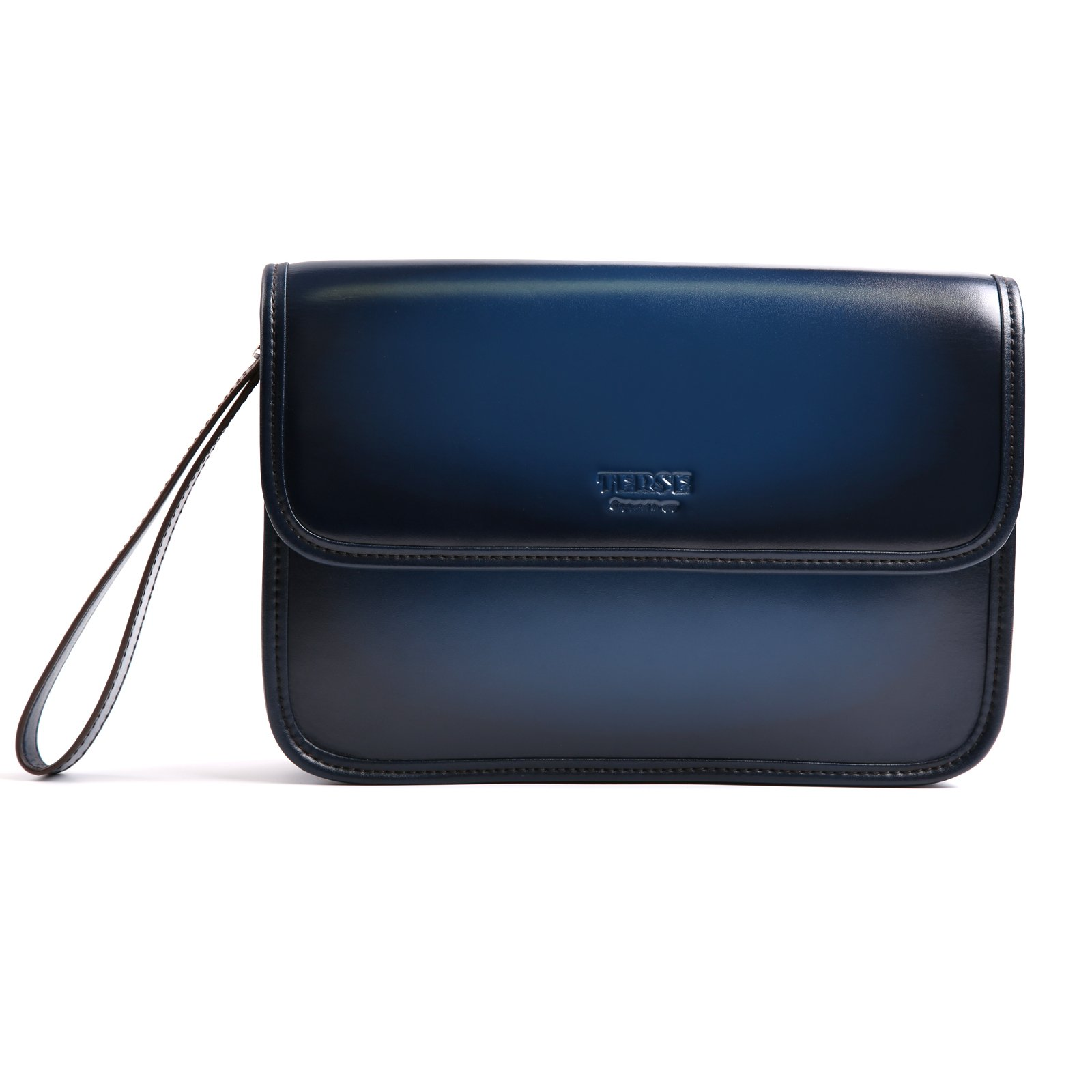 TERSE Genuine Leather Clutch Bag Handmade Wristlet Card Cash Holder Business Handbag Zipper Wallets Manual Brush-off(Blue) TS615E