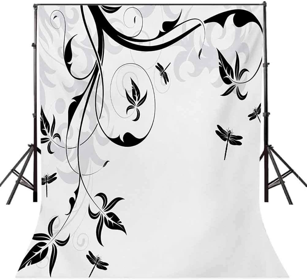 Dragonfly 10x12 FT Photo Backdrops,Swirled Floral Background with Damask Curl Branches and Leaves Print Background for Baby Birthday Party Wedding Vinyl Studio Props Photography Pale Grey Black White