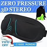 3D Sleep Mask & Ear Plugs Large Eye Cavities More Comfortable Anti-fade Anti-bacterial Anti-mite Durability Blocks out most sunlight Includes Carry Pouch - For Travel Shift Work & Meditation