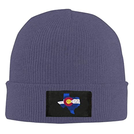 22dd9605435 Image Unavailable. Image not available for. Color  WHROOER Colorado Flag  Texas Map Unisex Warm Winter Hat Knit Beanie Skull Cap Cuff ...