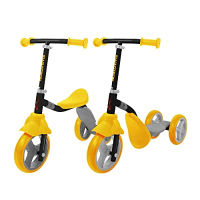 K2 Toddler 3 Wheel Kick Scooter & Ride-On Balance Trike 2-in-1 Adjustable for 2, 3, 4, 5 Year Old Kids Boy or Girl Transforms In Seconds (Yellow) : Sports & Outdoors