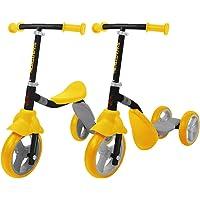 K2 Toddler 2-in-1 Adjustable 3 Wheel Kick Scooter & Ride-On Balance Trike (Yellow)