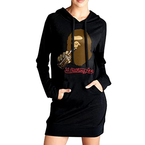 Hiro Women Bape Sweatshirt Dress Pockets Pullover Kangaroo Hoodie XL Black e0f50ec85