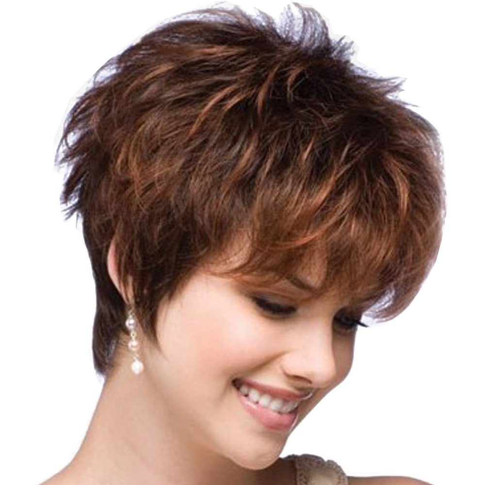 LEJIMEI Short Curly Wigs for White Women Dark Brown Bob Wigs with Bangs Heat Resistant Synthetic Hair Wigs Natural Looking Fashion Full Wigs + Free Wig Cap