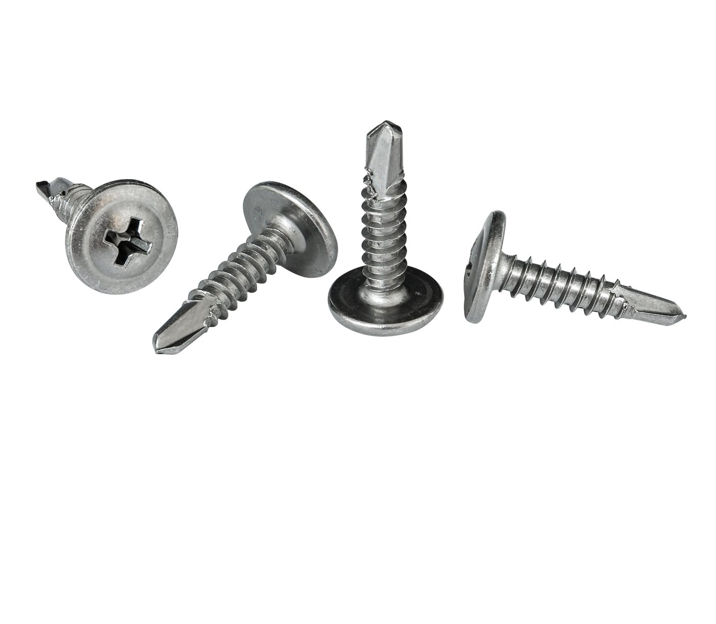 #8 x 3/4'' Phillips Modified Truss Head Self-Drilling Tek Screw, 410 Stainless Steel for Attaches Steel, Stainless Steel, Sheet Metal - Box of 100