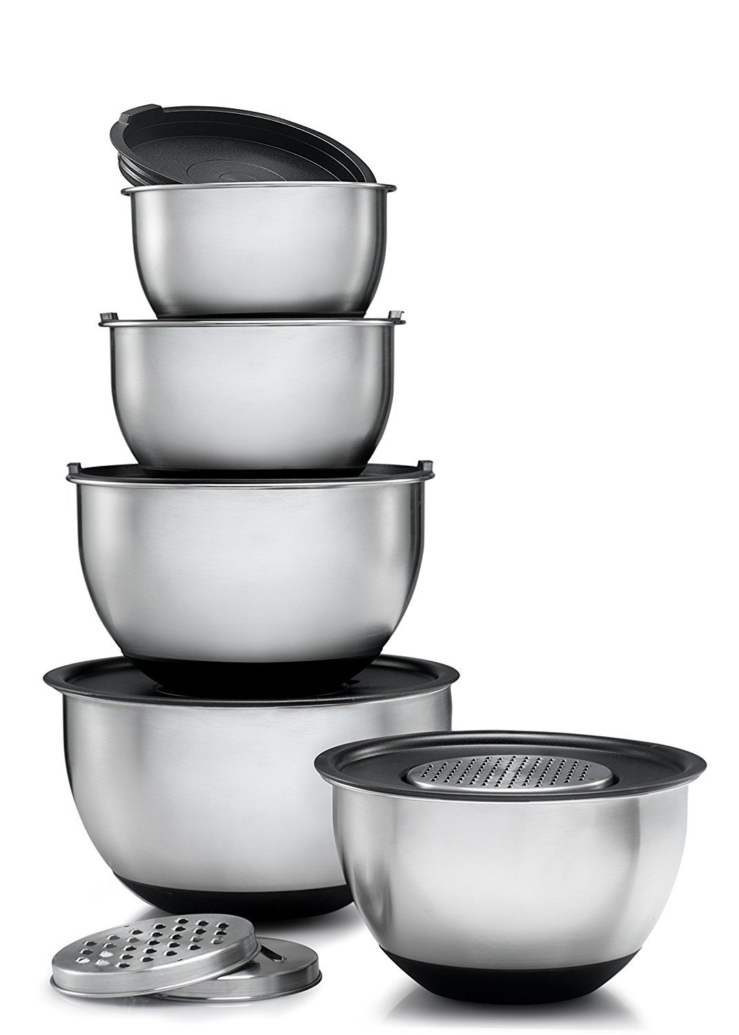Ybmhome Set of 5 Stainless Steel Mixing Bowl - Includes Tight Fitting Lids + 3 Sharp Graters Discs – Mirror Finish Stackable Nesting Bowls with Rubber Bottom – Keep Kitchen Clean & Organized