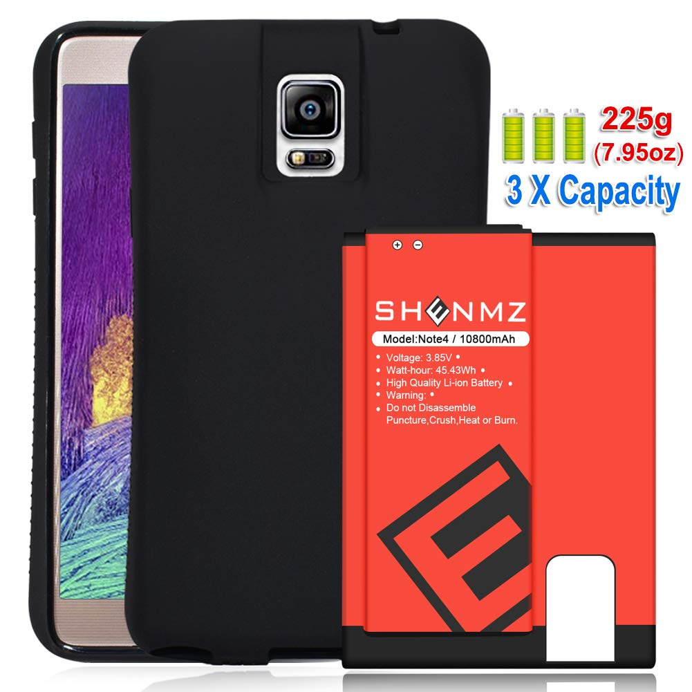 SHENMZ Samsung Galaxy Note 4 Extended Battery,Galaxy Note 4 11800mAh Replacement Battery with NFC + Soft TPU Full Edge Protective Case (Up to 3.3X Extra Battery Power) for Samsung Galaxy Note 4 All V