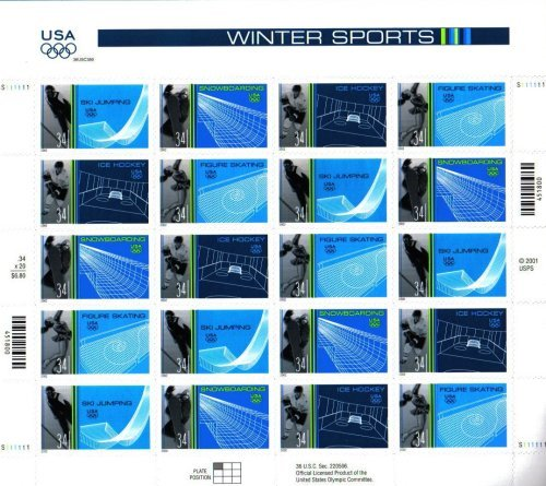 2002 OLYMPIC WINTER SPORTS ~ SALT LAKE CITY UTAH~ SKI JUMPING ~ SNOWBOARDING ~ ICE HOCKEY ~ FIGURE SKATING #3555a Pane of 20 x 34¢ US Postage Stamps
