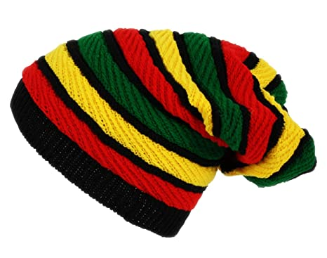 Itzu Oversized Slouch Rasta Stripes Beanie Hat Black Green Yellow ... 90f296b3c9c