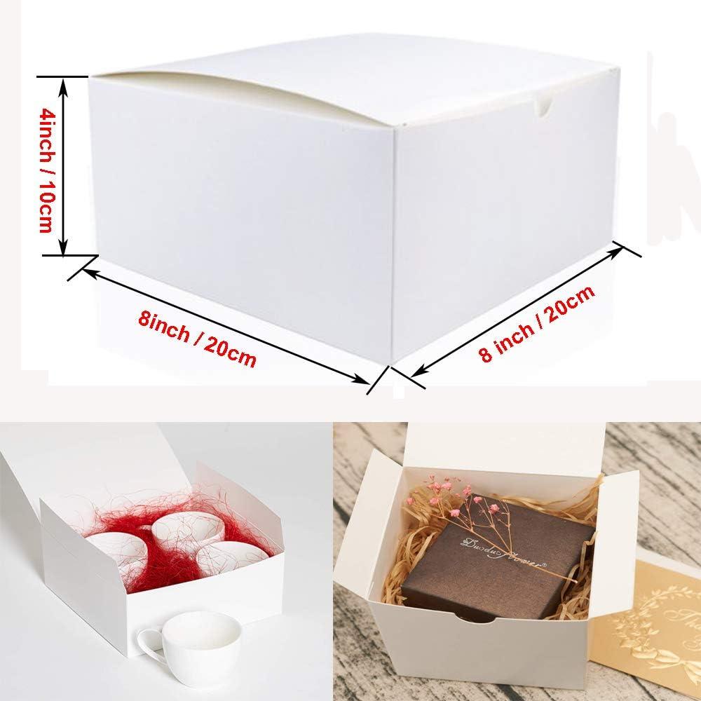 Cajas de regalo Mydio de cartón blanco con tapas, 20 x 20 x 10 cm (10 unidades) para regalos, manualidades y cupcakes: Amazon.es: Hogar
