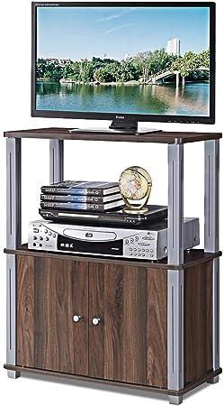 COSTWAY TV Mesa Mueble Estante Soporte Televisor Salón Estantería Almacenamiento para CD Libros DVD (Marrón Oscuro): Amazon.es: Hogar