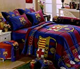 Barcelona Football Club Bedding In Bag Set (Twin Size, BC001); 1 Four Season Comforter with 3 pieces of Bed Fitted Sheet Set
