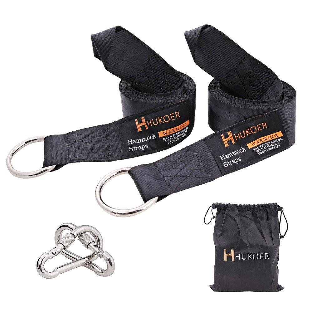 Hukoer, mounting set for hammocks, hammock straps, mounting ties, adjustable, safe for camping and garden, 1000 kg, set of 2