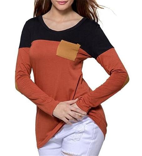 Gogofuture Camiseta Mujeres Con Manga Larga Empalme De Color Cuello Redondo Camisa Bonitas Blouses T...