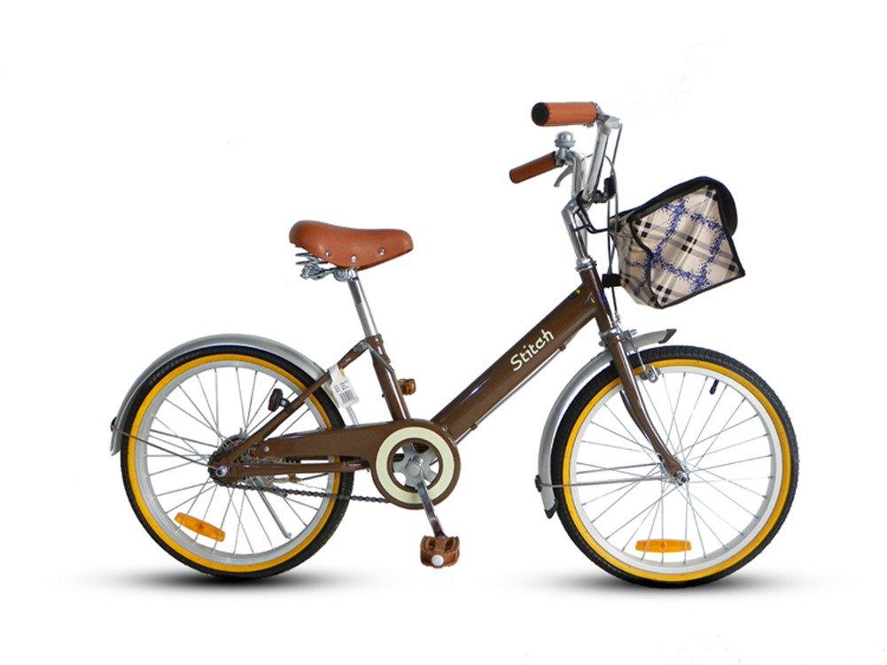 Cyfie 森 子供用自転車 バスケット付き 泥除け付き ベル付き 後ろブレーキ 女の子 8歳以上 20インチ 全8色 B01AL2X6YS ブラウン ブラウン