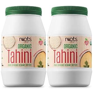 Roots Circle USDA Organic Tahini Paste   100% Pure Creamy Ground Sesame Seed Paste for Hummus, Tahini Sauce & Dressing   Vegan, Kosher, Non-GMO, Gluten & Peanut-Free, Keto-Friendly (2 Jars 16 Oz)