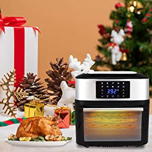 ROVSUN ZOKOP 16.9 Quarts Air Fryer 1800W ETL Listed All-in-One Air Fryer Oven, Rotisserie, Dehydrator, Oilless Cooker, 8 Cooking Presets, 9 Accessories LED Touch Screen Auto-Shutoff Safety Black