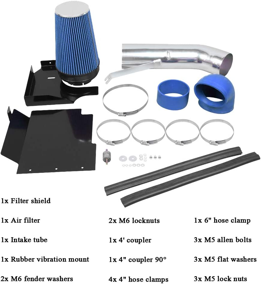 MooSun 4 Performance Cold Air Intake Kit With Filter For GMC Chevy Chevrolet 1999 2000 2001 2002 2003 2004 2005 2006 V8 4.8L//5.3L//6.0L Blue
