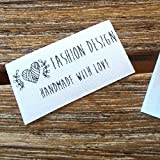 Qty 100 Iron on Clothing label sewing custom name tag Heart ball of yarn frame design handmade business text logo personalized soft satin ribbon waterproof washable label size 1.2''