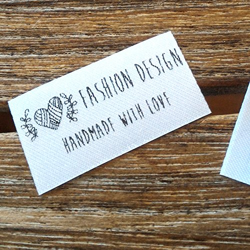 Qty 100 Iron on Clothing label sewing custom name tag Heart ball of yarn frame design handmade business text logo personalized soft satin ribbon waterproof washable label size 1.2'' by Stampart