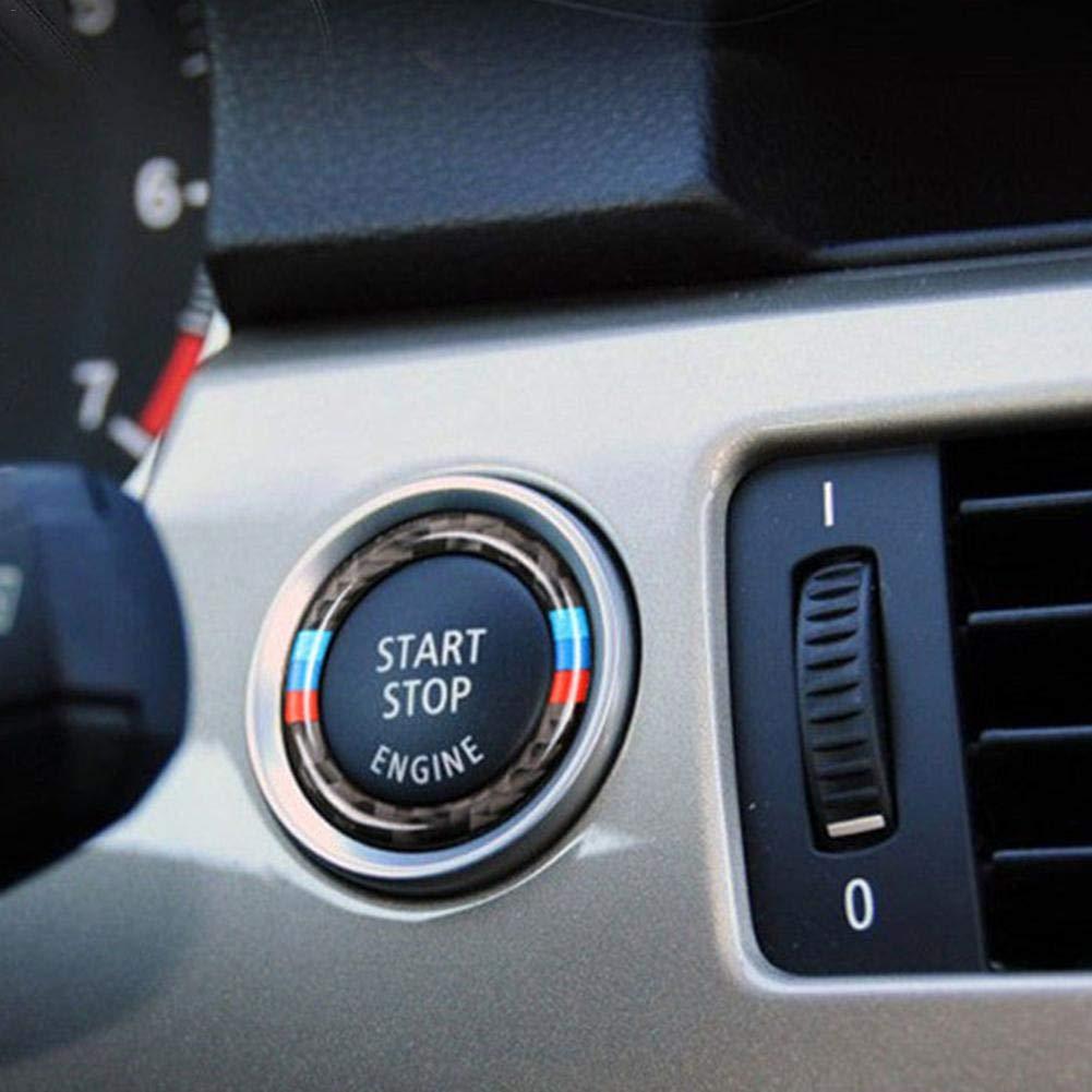 E92 juman634 Key Start Stop Pulsante Anello in Fibra di Carbonio Anello Decorativo Anello Cornice Trim Cerchio per BMW Serie 3 E90 E93