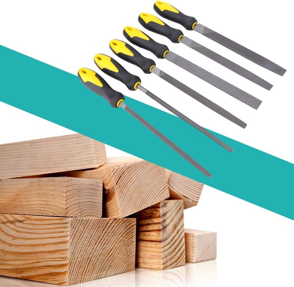 Holzraspel-Set High Carbon Stahl Handwerkzeug mit Rutschfester Gummigriff zum Polieren von Holz Metall Leder Glas Kunststoff Keramik Cocoarm 6pcs 8 Zoll Feilensatz