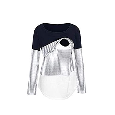 354309637aa Maternity T-Shirt Long,Women Mom Pregnant Nursing Baby Maternity Long  Sleeved Striped Blouse