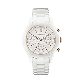 Caravelle Womens Stainless Steel Quartz Watch with Ceramic Strap, White, 18 (Model: