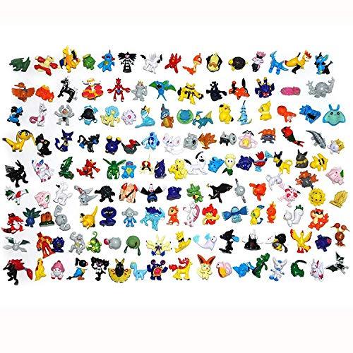 THSIN0 144 Packs Pokémon Mini Master Action Figures Pop-Up Pocket Monster Go Game Fans for Kids Toy Gift