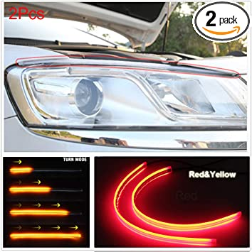 US Warehouse FOLCONROAD 2X White 60cm Car Flexible Tube LED Strip Daytime Runnning Lamps DRL Light Headlight