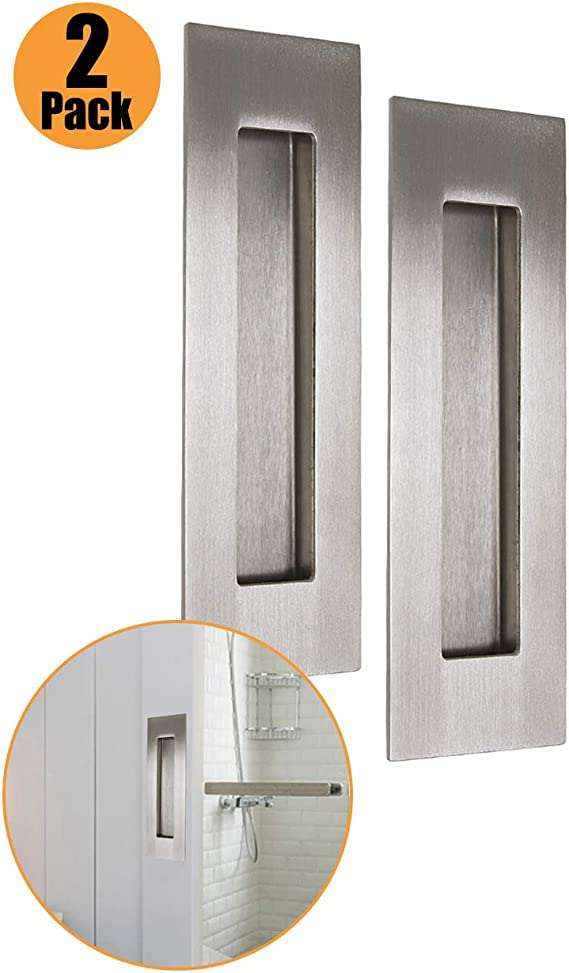 PinLin - Tirador rectángulo de acero inoxidable 304 para puerta corredera empotrada de 50 mm x 150 mm, tornillos ocultos con diseño de inserto de dedo, plateado: Amazon.es: Bricolaje y herramientas