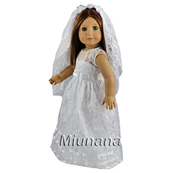 Miunana 1 Vestido Novia Ropa Boda con 1 Velo Doble Capas para American Girl Doll 18