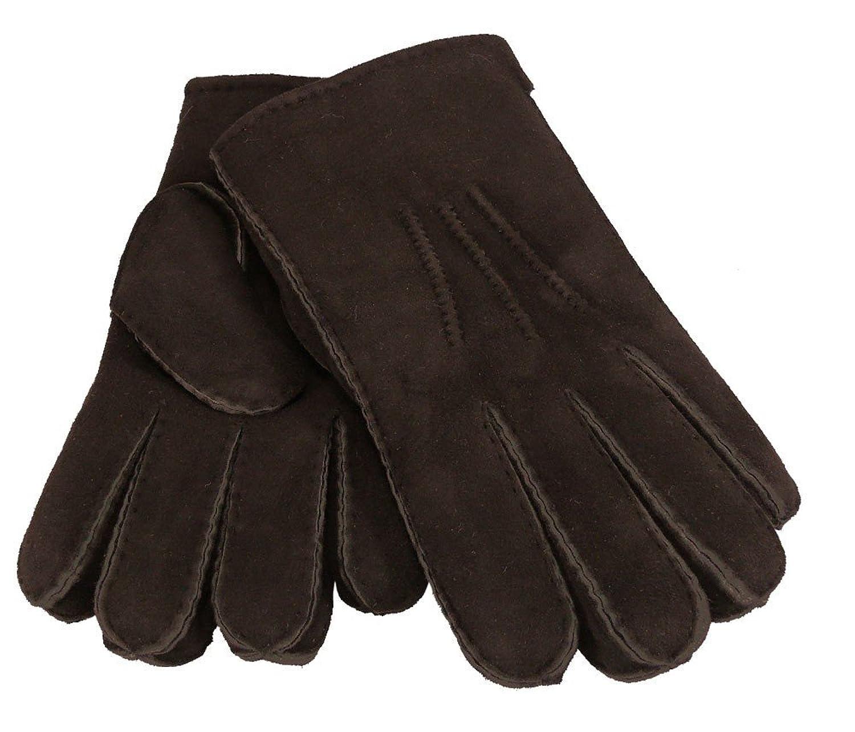 Fingerhandschuh mit Handnaht aus echtem Lammfell in braun