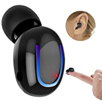 CREUSA Bluetooth Earbud, Wireless Mini Invisible Car Sport Hands Free Call Music Headphone with Microphone for iPhone, Android-One Piece (Black)