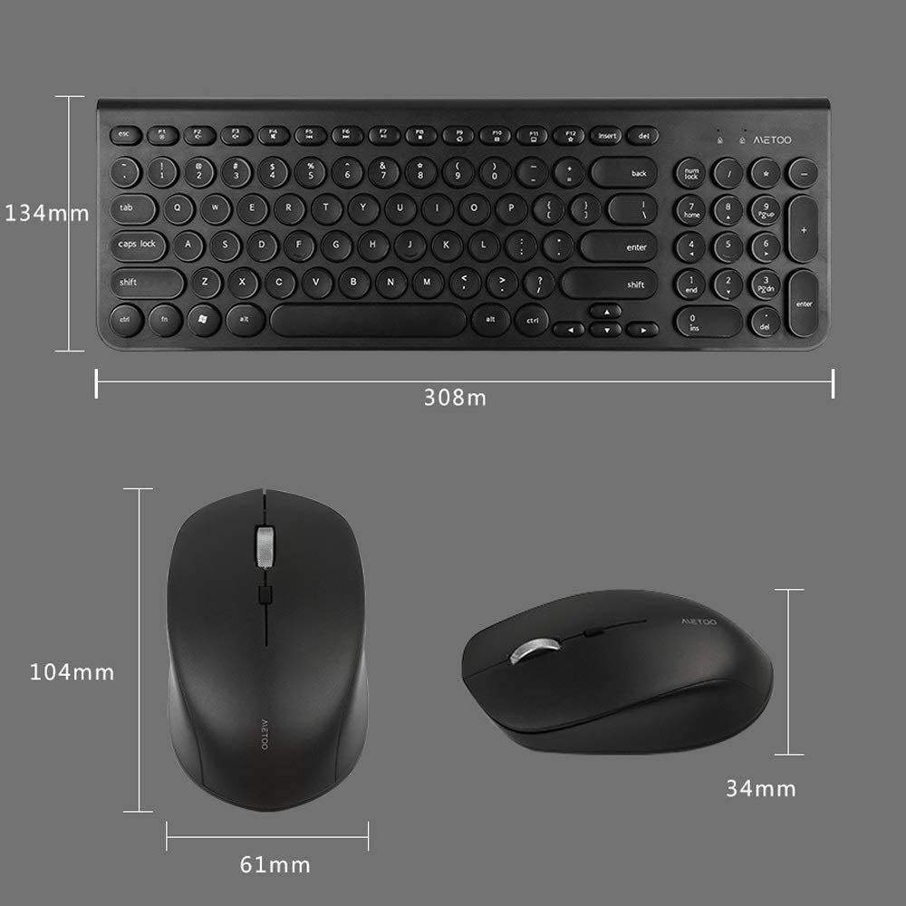 with Ergonomic Wrist Rest Ultra Slim Wireless Keyboard and Mouse Combo Long Battery Life Color : Black Whisper-Quiet USB