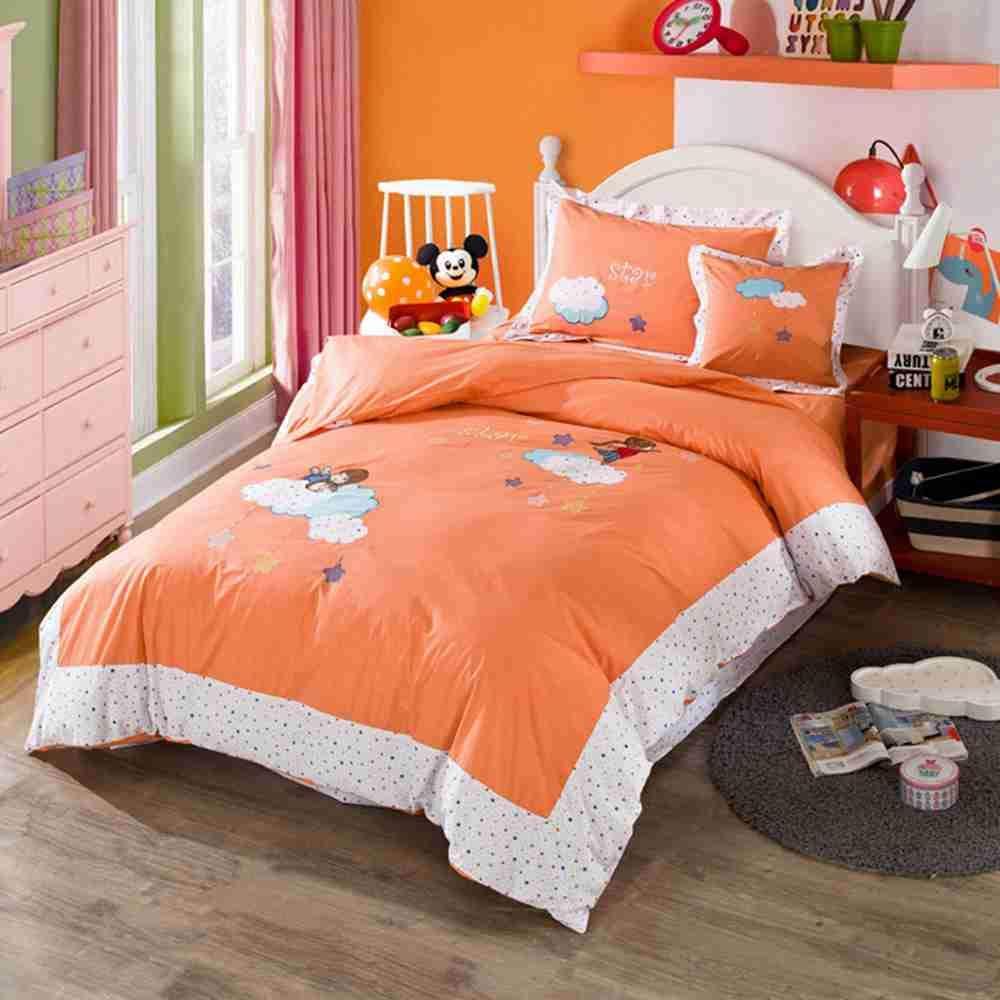 Warm Embrace 子供用寝具セット コットン100% 女の子用寝具 バッグ入り 掛け布団カバー 枕カバーとフラットシーツと掛け布団 クイーンサイズ 5点 クイーン オレンジ B07K2WL9HW  クイーン