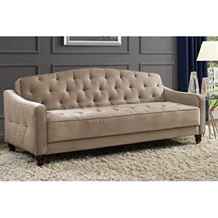 Amazon Com Novogratz Vintage Tufted Sofa Sleeper Ii Taupe Velour