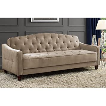 Amazon.com: Novogratz Vintage Tufted Sofa Sleeper II (Taupe Velour):  Kitchen U0026 Dining