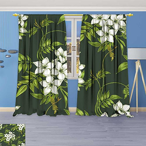 (3D Geometry Fashion Design Print Thermal Insulated Blackout Curtain vector background jasmine flowers design for fabrics textiles paper wallpaper web with Top for Bedroom 108
