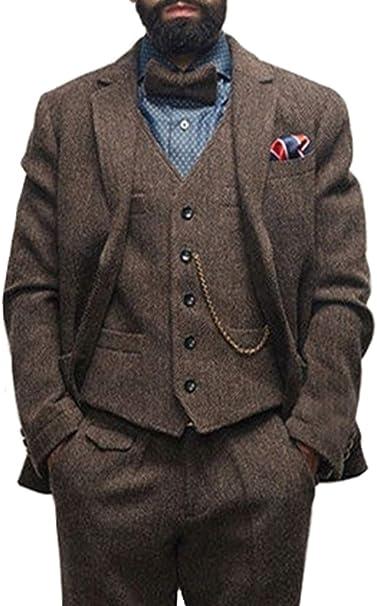 Mens Custom Herringbone Suit 3 Piece Tweed Wedding Tuxedo ...
