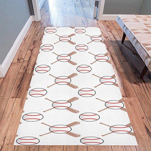 InterestPrint Home Contemporary Baseball Design Modern Runner Rug Carpet - Runner Baseball Rug