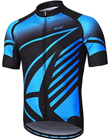 35e32892d ARSUXEO Men s Cycling Jersey Short Sleeves Mountain Bike Shirt MTB Top  Zipper Pockets Reflective